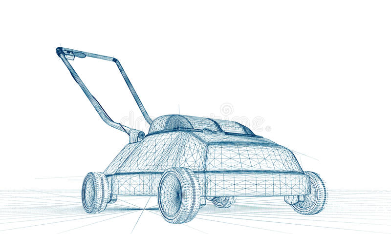 lawnmower drawing. download lawnmower sketch draw stock illustration - image: 39654951 drawing