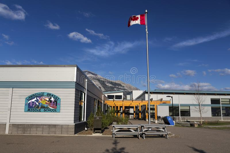 Lawrence Grassi Middle School Building in Canmore Alberta Public Park stock photography