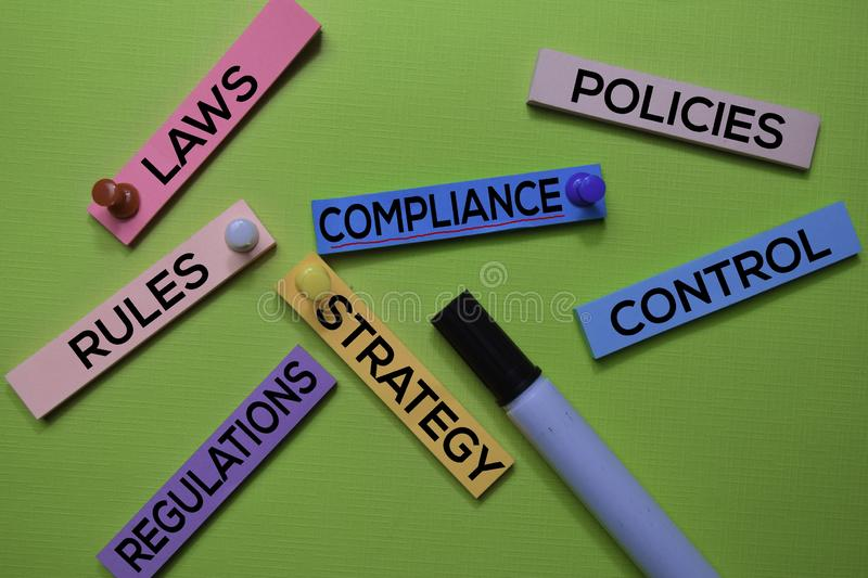 Laws, Compliance, Policies, Rules, Strategy, Regulations, Control text on sticky notes isolated on green desk. Mechanism Strategy stock photos