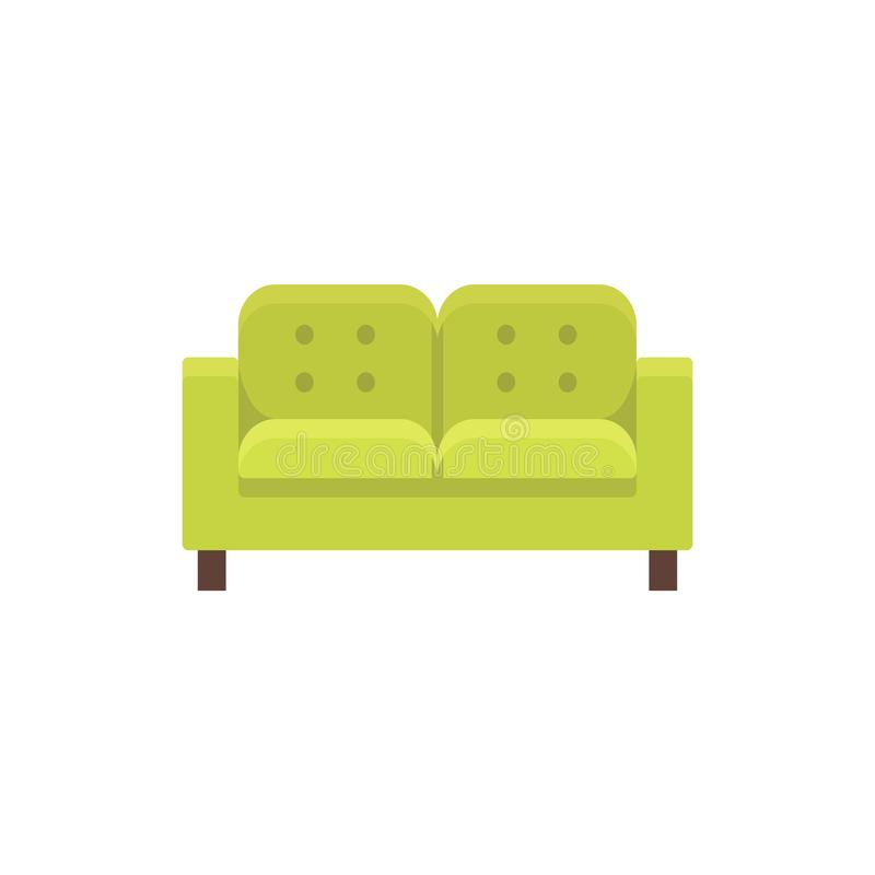Lawson sofa. Vector illustration. Flat icon of green tufted double settee. Element of modern home & office furniture. Front view vector illustration