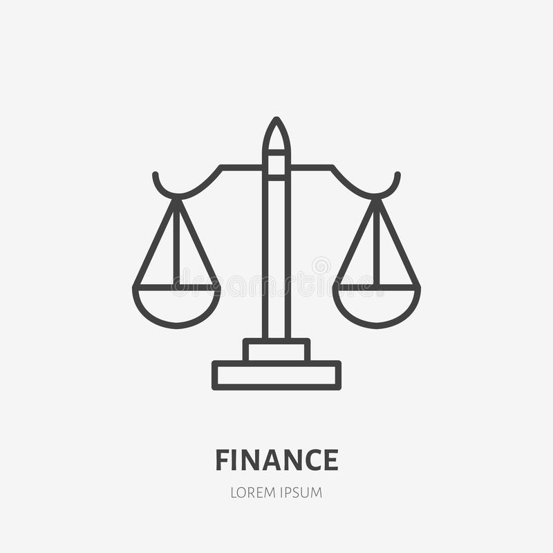 Lawyer, attorney flat line icon. Scale sign. Thin linear logo for legal financial services, accountancy stock illustration
