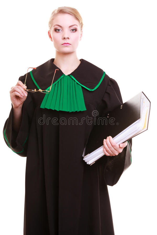 Lawyer attorney in polish black green gown. Law court or justice concept. Young woman lawyer attorney wearing classic polish (Poland) black green gown with file royalty free stock photo