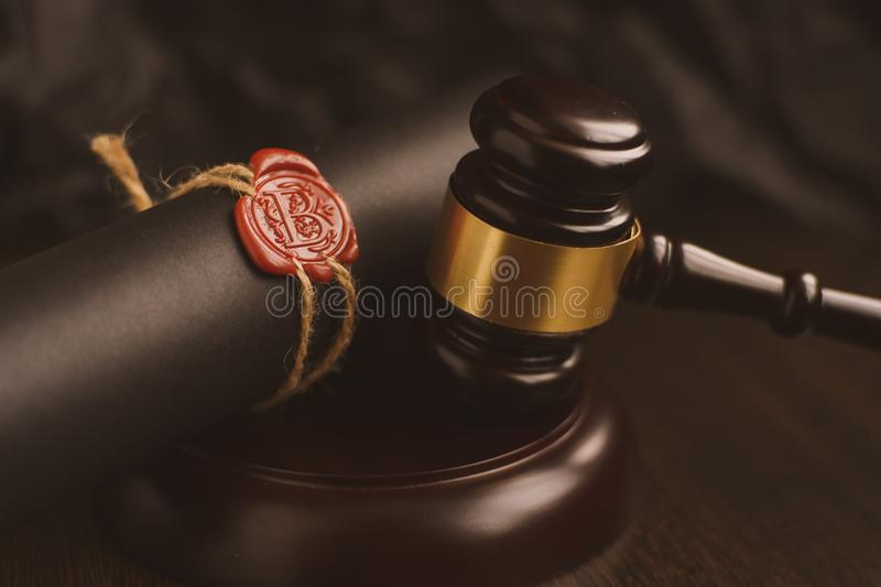 Lawyer or attorney working in office with automatic stamp. law attorney lawyer business man notary public document stock photo