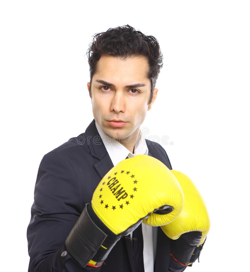 Lawyer with boxing gloves royalty free stock images