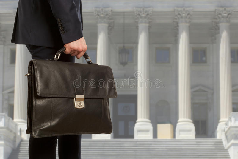 The lawyer with a briefcase stock photos