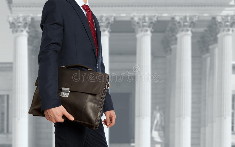 The lawyer with a briefcase royalty free stock photos
