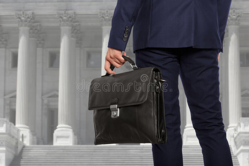 The lawyer with a briefcase royalty free stock photo