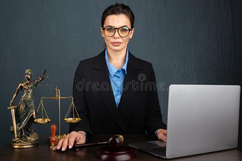 Lawyer business women working and notary signs the documents at office. consultant lawyer, justice and law ,attorney stock photo