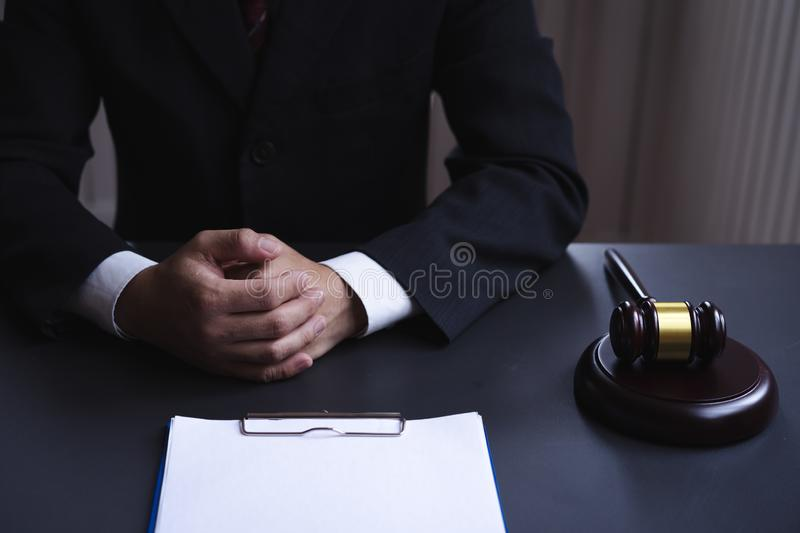 Lawyer consultant working desk with blank paper document stock photos