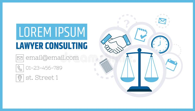 Lawyer consulting. Justice scales. A business card template of a law firm or company. Flyer legal services royalty free illustration