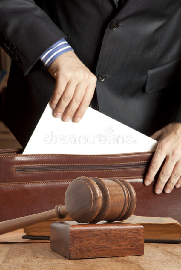 Lawyer in courtroom stock photography