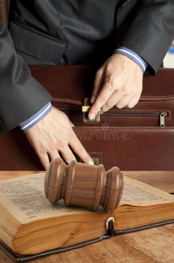 Lawyer in courtroom stock image