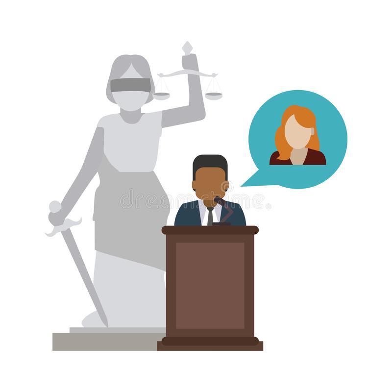 Lawyer defending client. Over lady justice statue vector illustration graphic design royalty free illustration