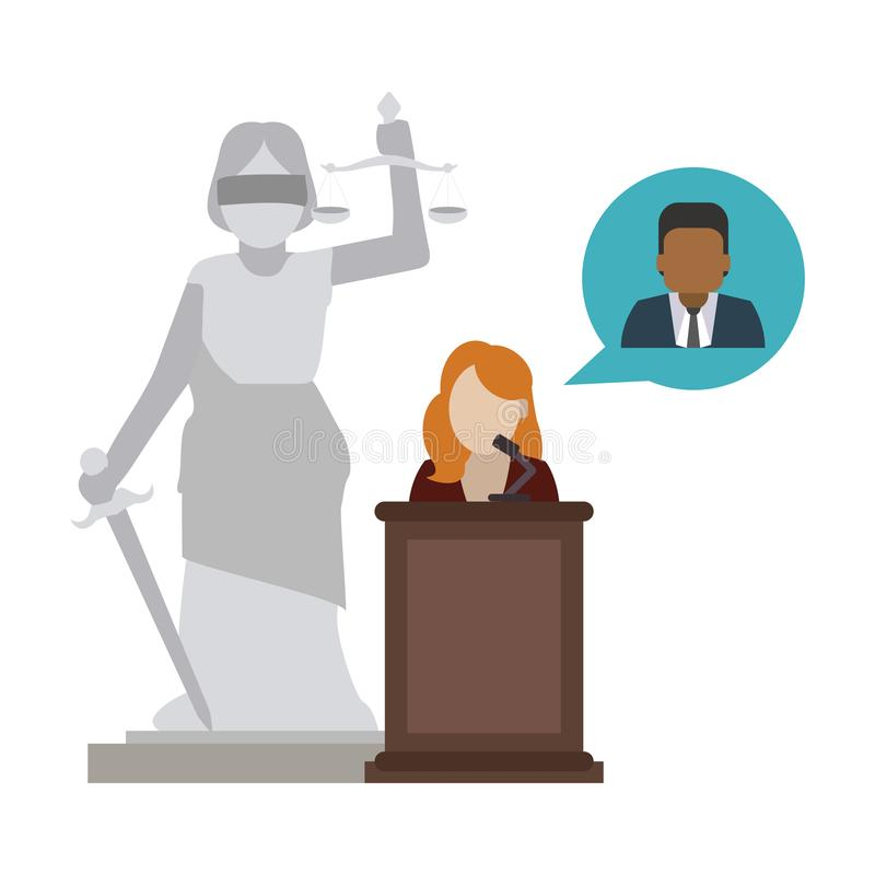 Lawyer defending client. Over lady justice statue vector illustration graphic design stock illustration