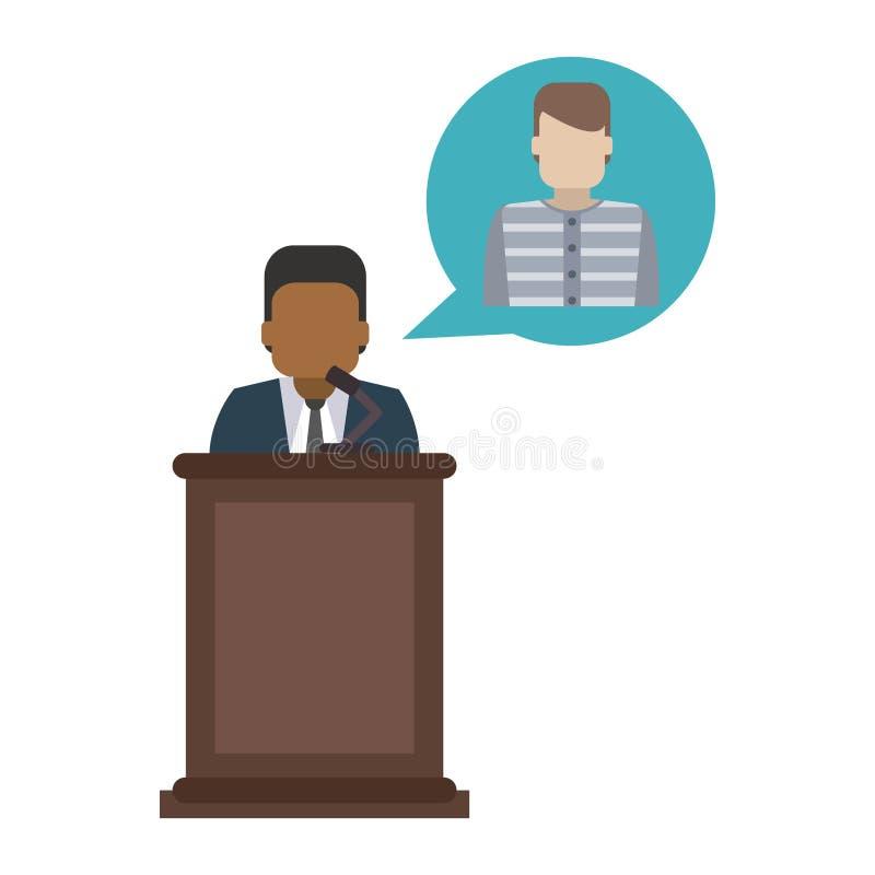Lawyer defending client. On podium vector illustration graphic design stock illustration