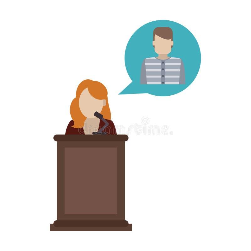 Lawyer defending client. On podium vector illustration graphic design vector illustration