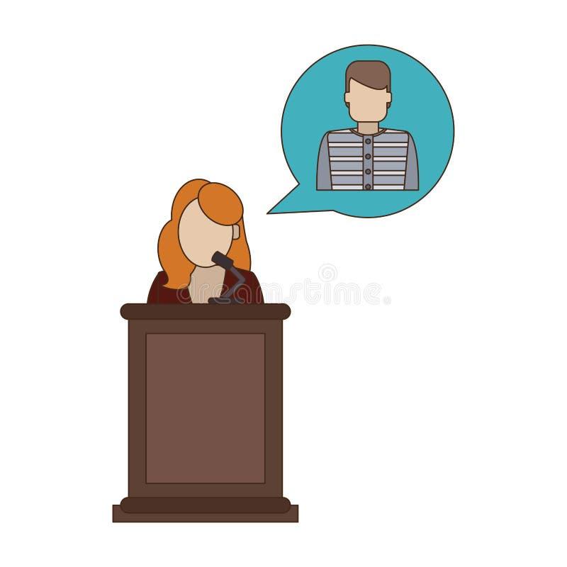 Lawyer defending client. On podium vector illustration graphic design royalty free illustration
