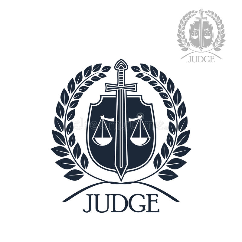 Lawyer Firm Judge And Law Office Symbol Stock Vector Illustration