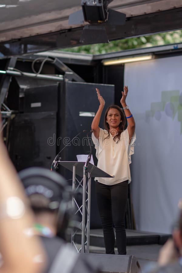 Lawyer Gina Davis At Anti-Brexit Demonstration. London, United Kingdom - June 23 2018: British lawyer Gina Davis walks at the front of the anti-Brexit march and stock photo