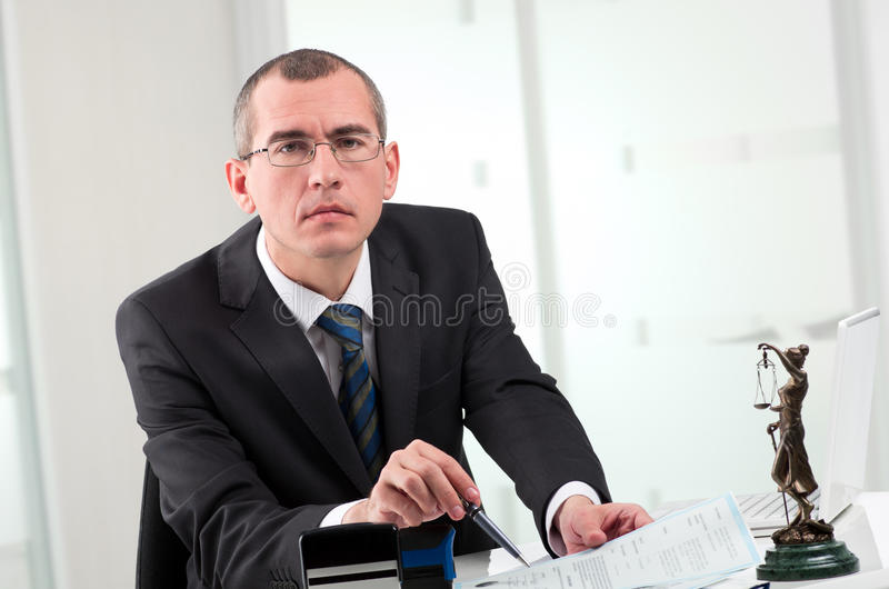 Lawyer on his workplace stock photos