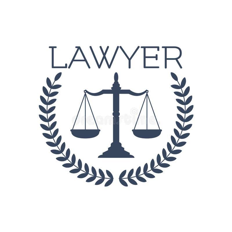 Lawyer icon, justice scales, laurel wreath emblem stock illustration