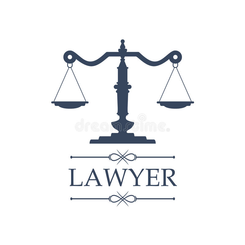 Lawyer icon of Justice scales vector emblem vector illustration