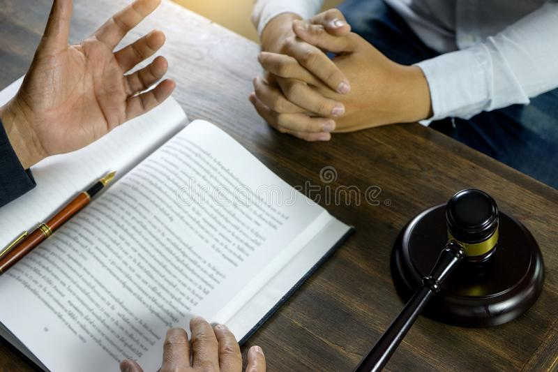 Lawyer or judge gavel with balance work with client stock photos