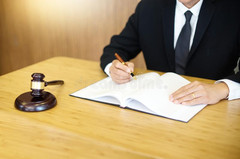 lawyer or judge work in the office with gavel stock photos