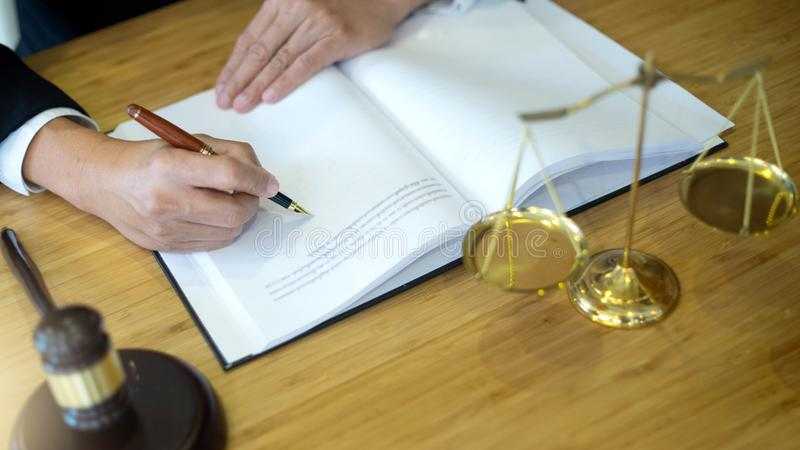lawyer or judge work in the office with gavel royalty free stock images