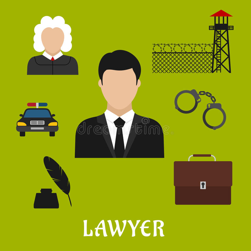 Lawyer and justice flat symbols or icons. Lawyer profession flat icons with man in black suit with briefcase, police car, judge, handcuff, ink with feather pen stock illustration