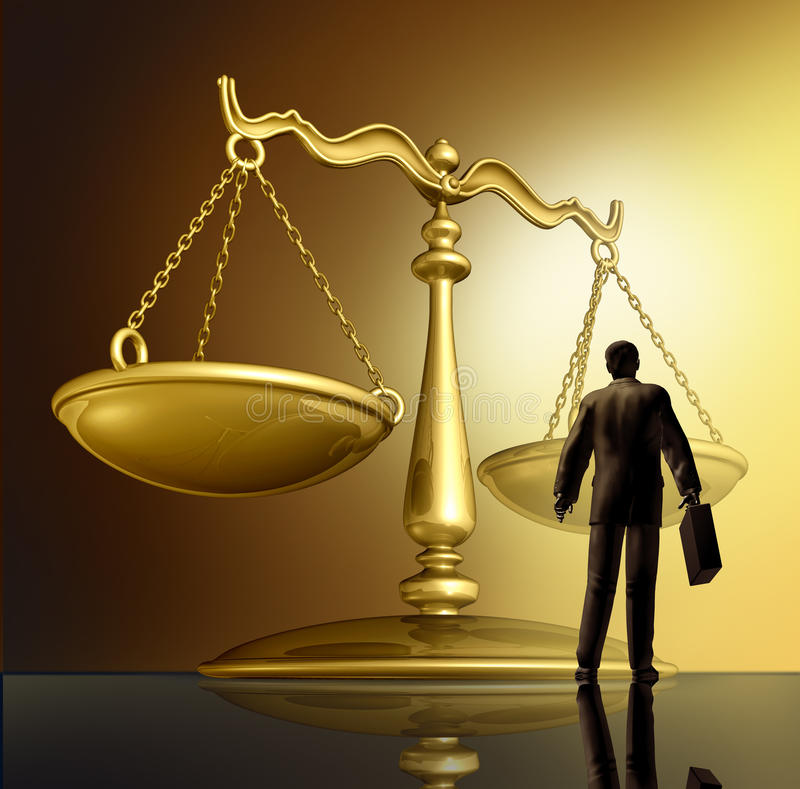 Lawyer And The Law. With a justice scale made of brass gold metal on a glowing background as a symbol of the legal advice, system in government and society in vector illustration