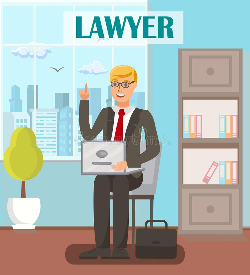 Lawyer, Legal Advisor Flat Vector Banner Template. Cartoon Male Attorney with Raised Index Finger Gesture. Solicitor, Barrister, Advocate Having Court Defense royalty free illustration
