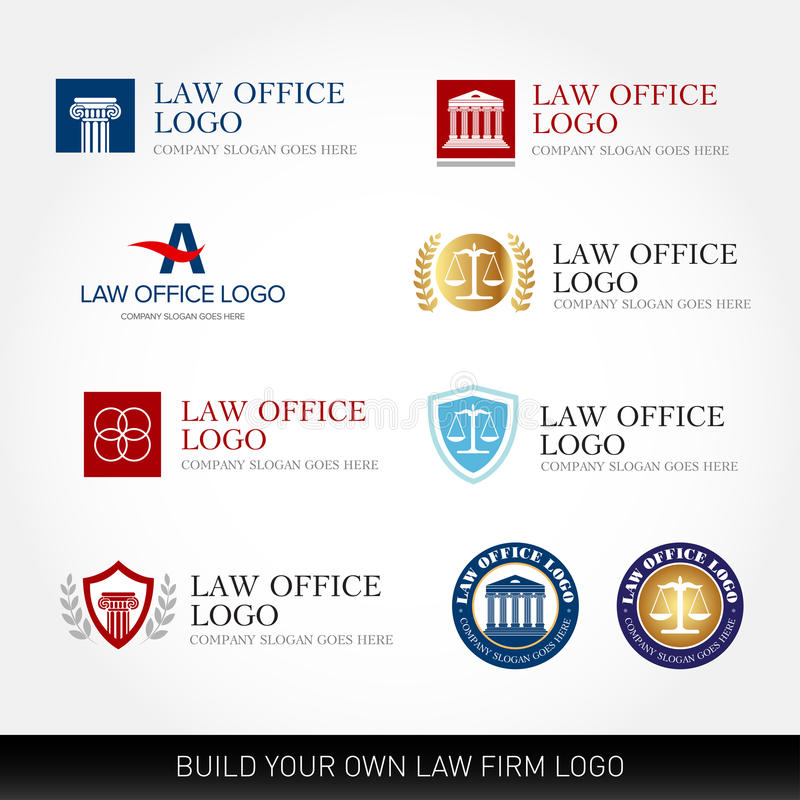 Lawyer logo design templates. Law office logo set. The judge, Law firm logo templates, lawyer set of vintage labels collection. stock illustration