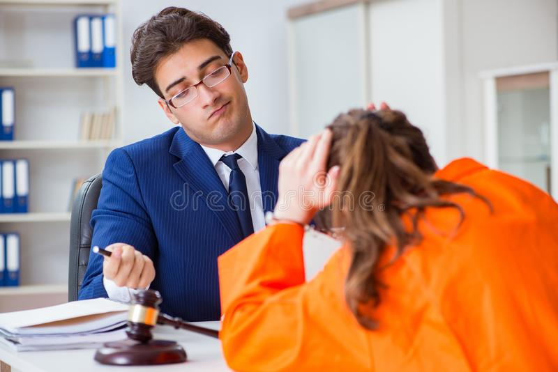 The lawyer meeting his client in prison. Lawyer meeting his client in prison royalty free stock photography