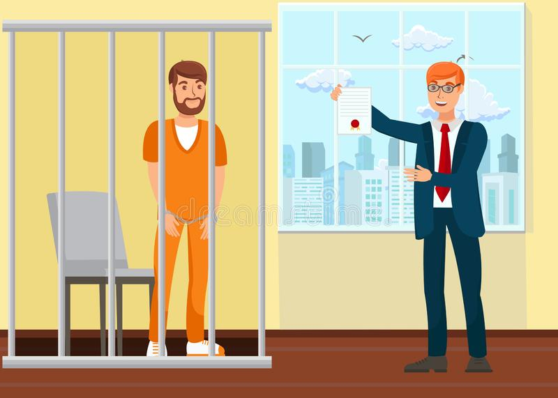Lawyer and Prisoner in Court Flat Illustration. Cartoon Suspect, Convicted Person in Cage. Advocate, Barrister Protecting Client in Courtroom. Prosecutor royalty free illustration