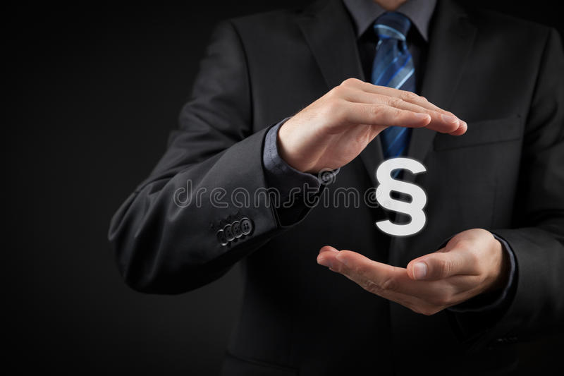 Lawyer protect rights. Lawyer (advocate, jurist) help protect rights. Law represented by paragraph symbol. Protection of rights and freedoms stock images