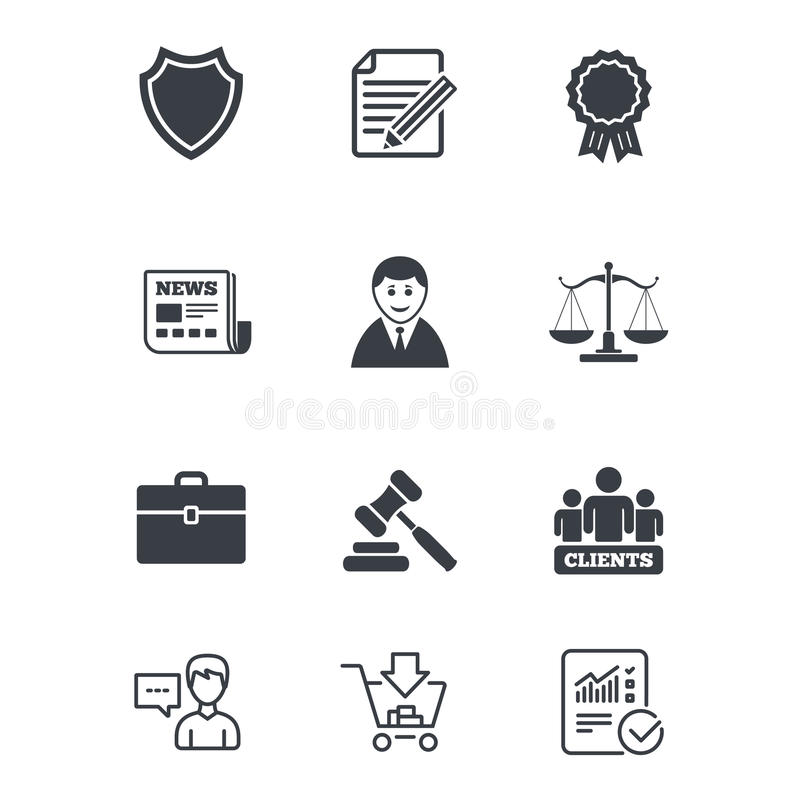 Lawyer, scales of justice icons. Auction hammer. vector illustration