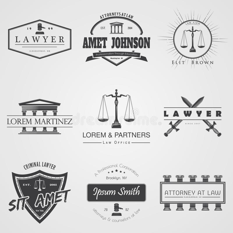 Lawyer services. Law office. The judge, the district attorney, the lawyer set of vintage labels. Scales of Justice. Court of law s stock images