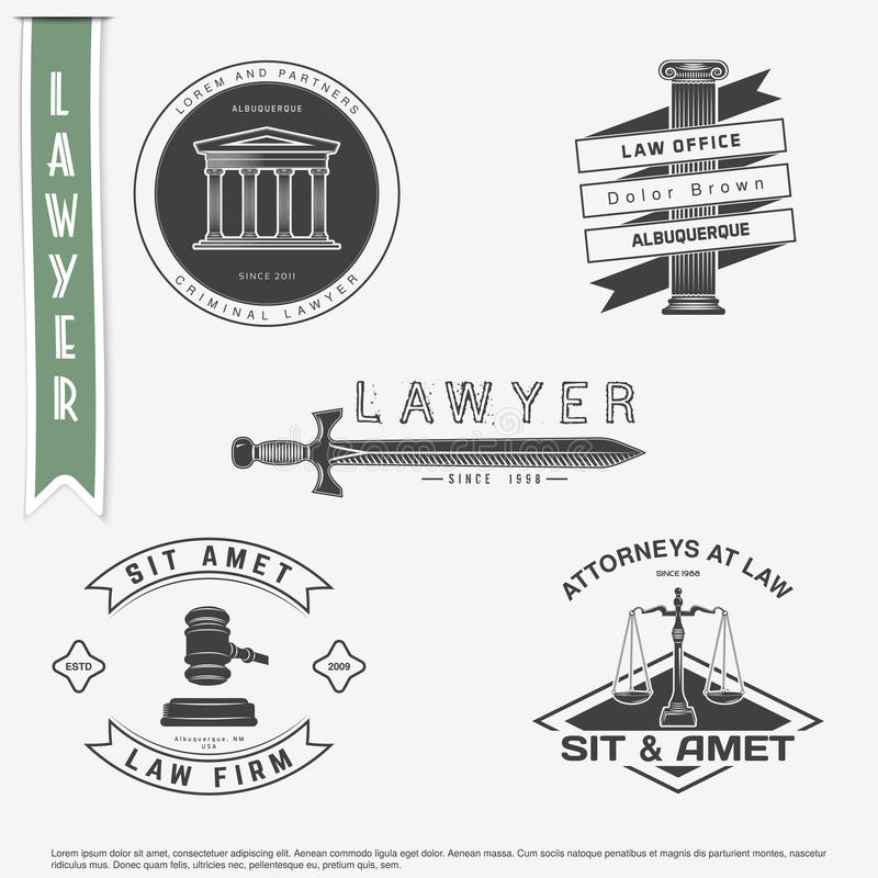 Lawyer services. Law office. The judge, the district attorney, the lawyer set of vintage labels. Scales of Justice. Court of law s vector illustration