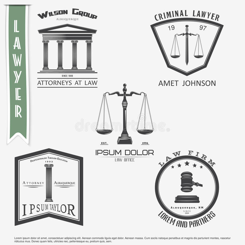 Lawyer services. Law office. The judge, the district attorney, the lawyer set of vintage labels. Scales of Justice. Court of law s stock illustration