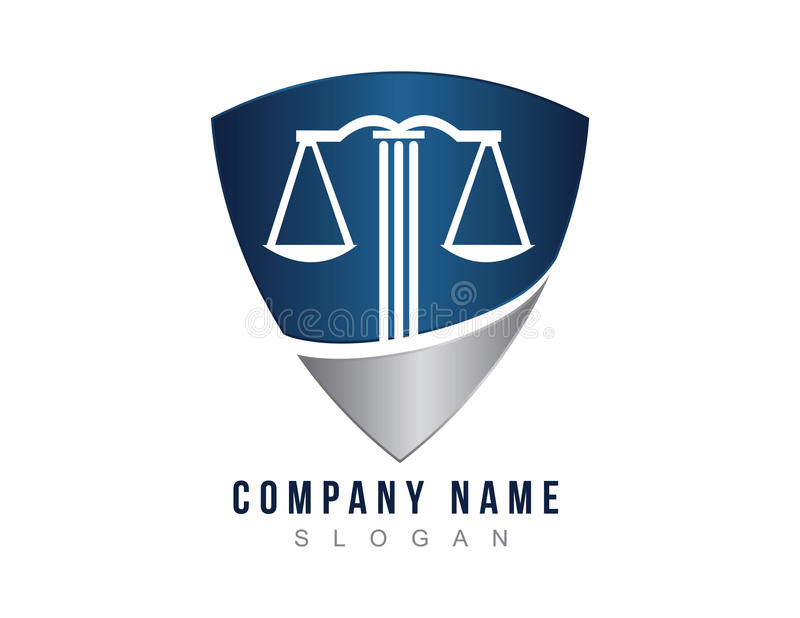 Lawyer shield logo royalty free illustration
