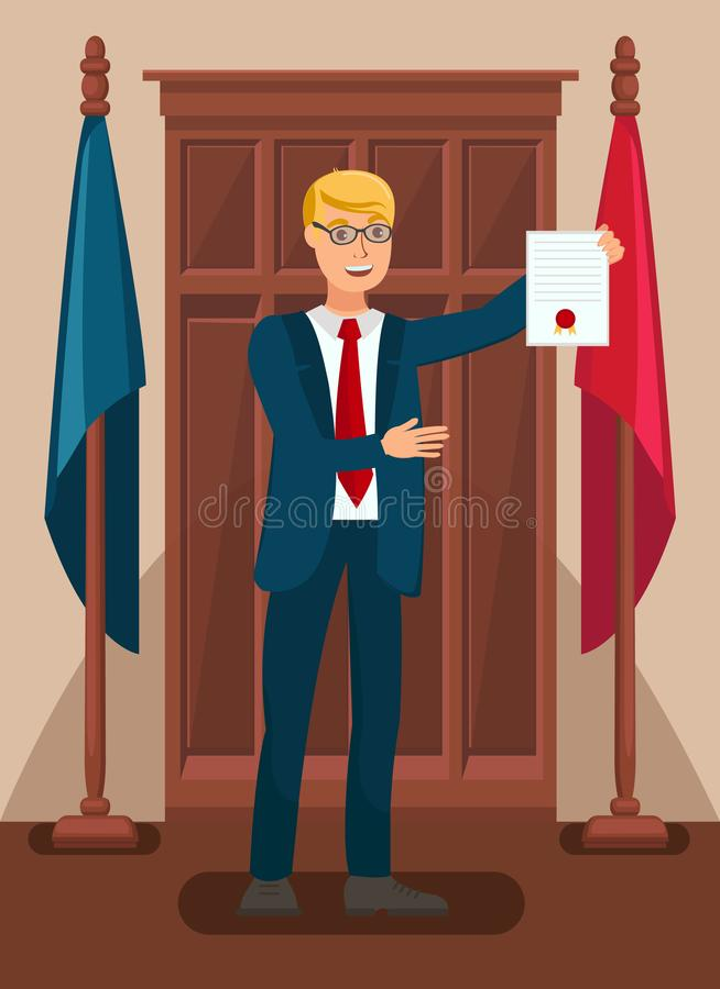 Lawyer Showing Evidence in Court Flat Illustration. Cartoon Prosecutor Holding Warrant of Arrest. Attorney, Legal Advisor, Barrister Presenting Documents vector illustration