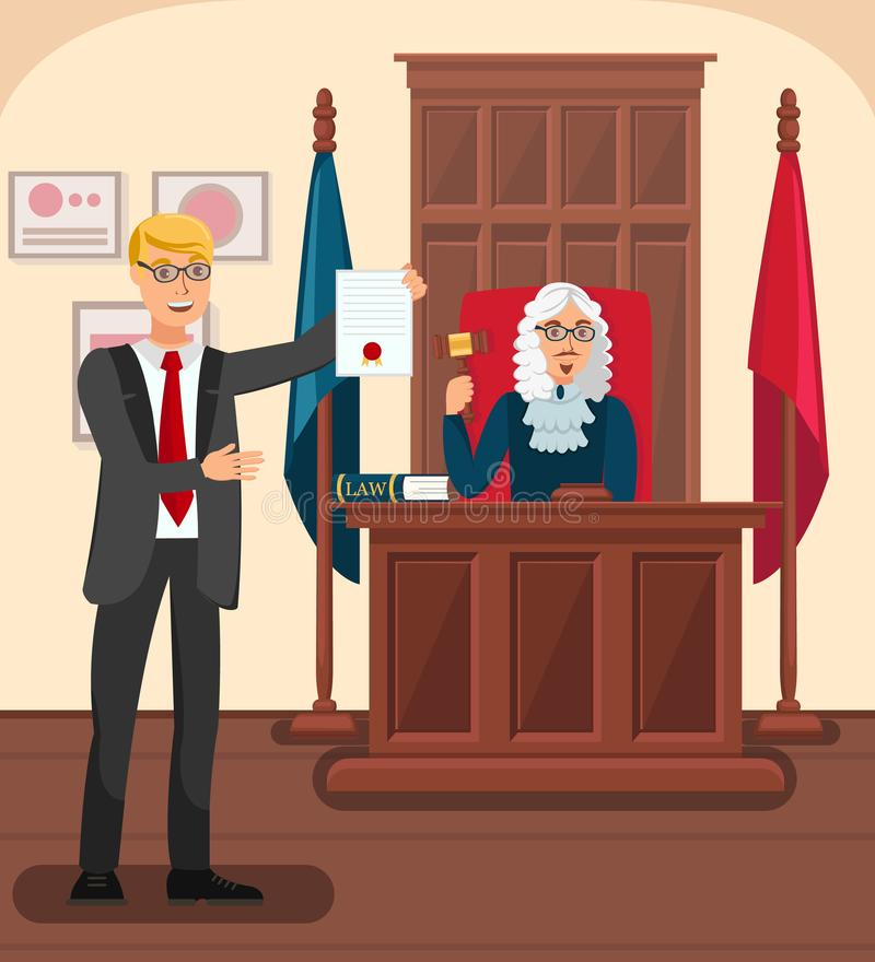 Lawyer Showing Evidence in Court Flat Illustration. Cartoon Prosecutor Presenting Proofs of Accusation. Barrister Giving Sealed Document to Judge. Courtroom royalty free illustration