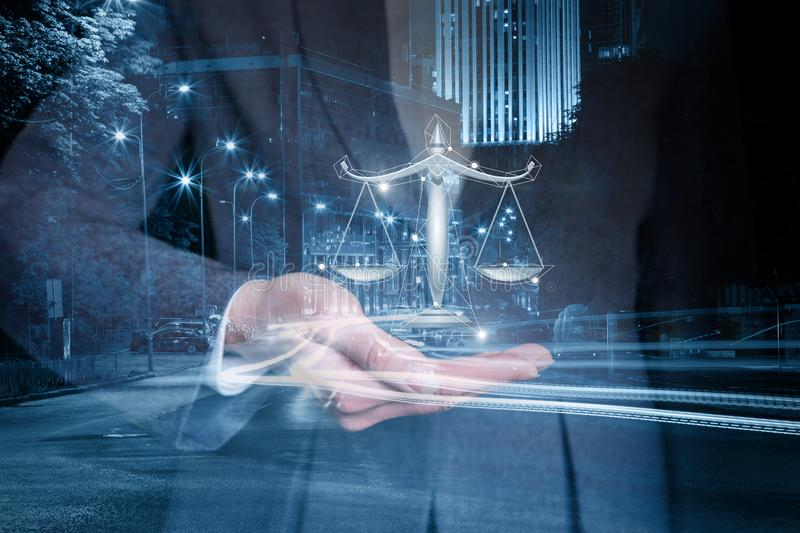 Lawyer shows the scales of justice on the background of night streets . Lawyer shows the scales of justice on the background of night streets of the city vector illustration
