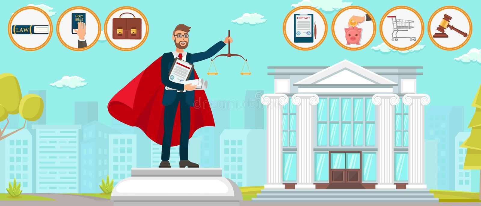 Lawyer Superman Law Firm Monument Vector Flat. Lawyer Superman Law Firm Can do Anything. Vector Flat Monument Young Guy Hands Scales Contract Documents. Code stock illustration