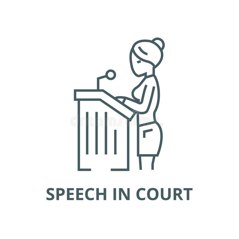 Lawyer woman,speech in court vector line icon, linear concept, outline sign, symbol. Lawyer woman,speech in court vector line icon, outline concept, linear sign royalty free illustration