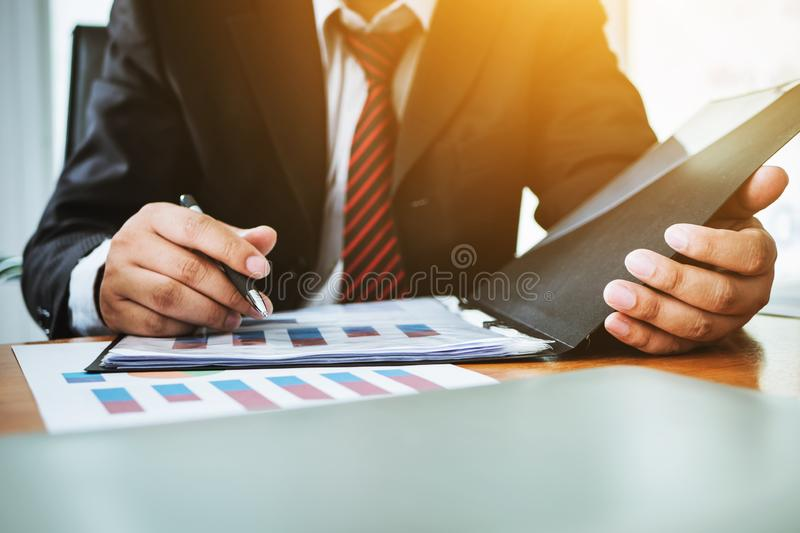 Lawyer working professional legal document in meeting room. royalty free stock images