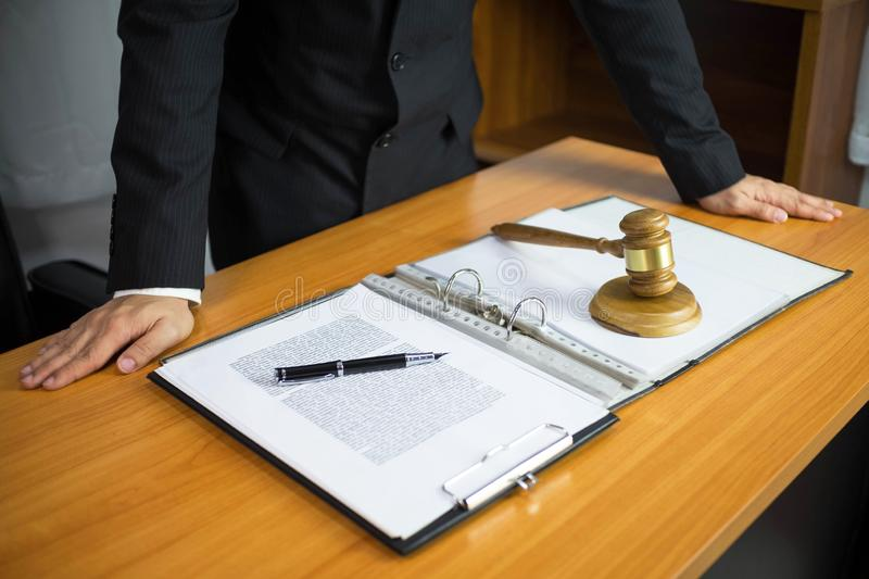 Lawyer working on the table in office. consultant lawyer, attorney, court judge, concept royalty free stock image