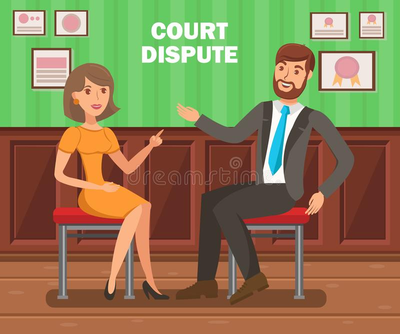 Lawyers Court Dispute Flat Vector Banner Template. Litigation Procedure Typography. Cartoon Barristers, Solicitors, Attorneys Discussion. Trial Opponents royalty free illustration