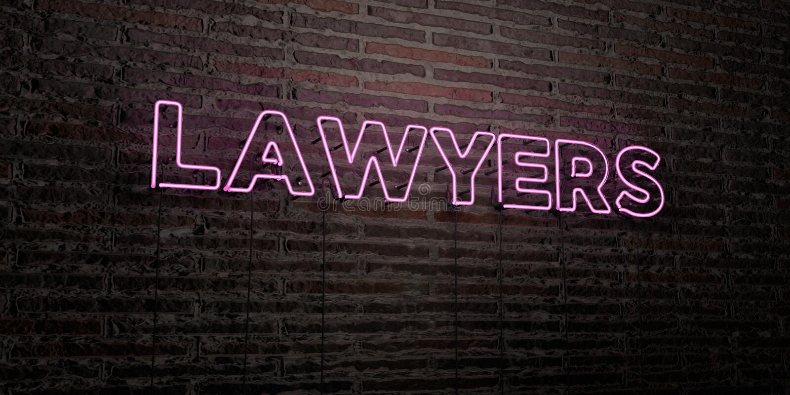 LAWYERS -Realistic Neon Sign on Brick Wall background - 3D rendered royalty free stock image vector illustration